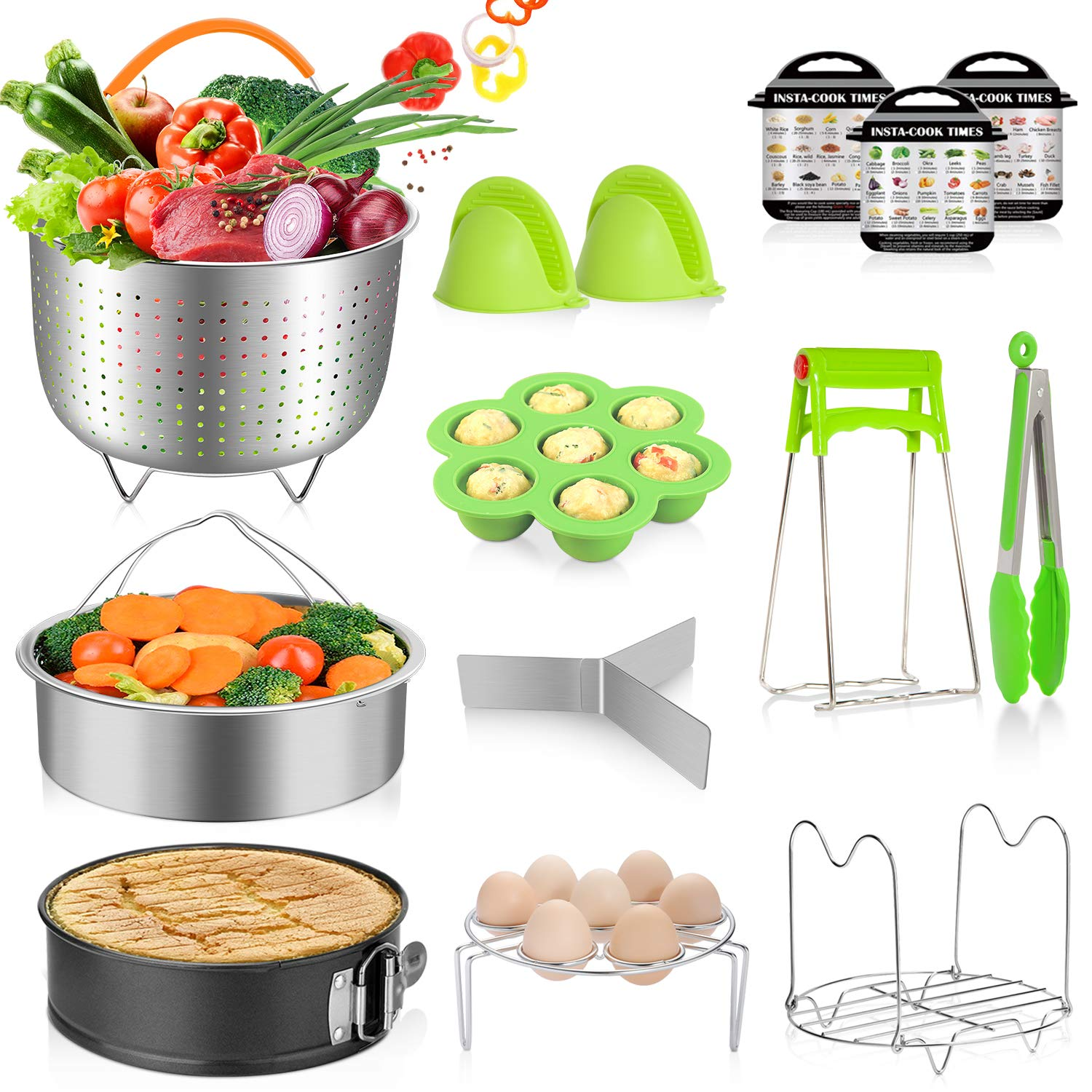 MIBOTE 14pcs Pressure Cooker Accessories Set fits Instant Pot 5,6,8 Qt, Steamer Baskets, Springform Pan, Egg Steamer Rack, Egg Bites Mold, Kitchen Tong, Silicone Pad, Oven Mitts, Cheat Sheet Magnet by MIBOTE