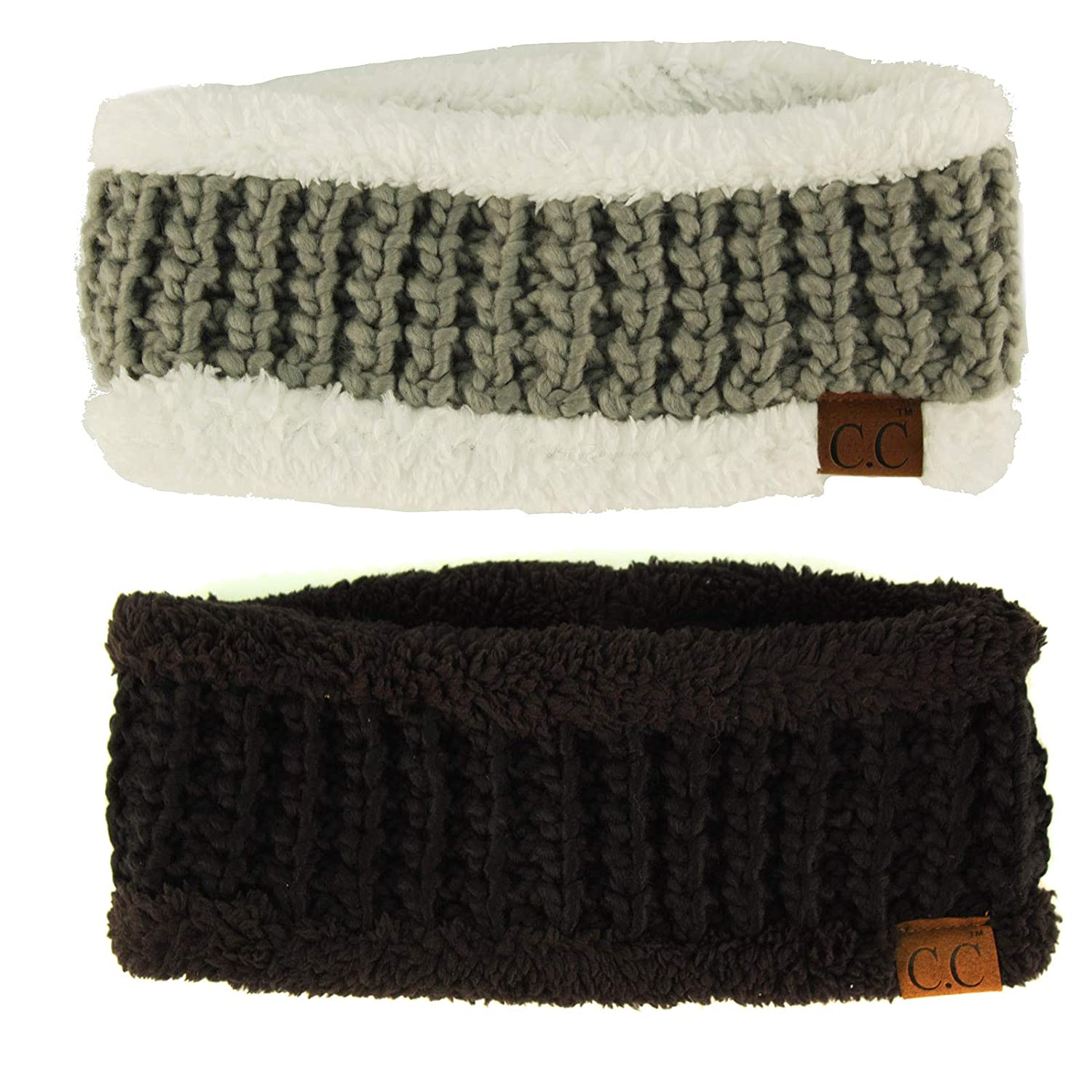 42c6f62a7b4 CCBeanie Sherpa Polar Fleece Lined Thick Knit Headband Headwrap Hat Cap  Black Natural Gray 2 Pack Combo at Amazon Women s Clothing store