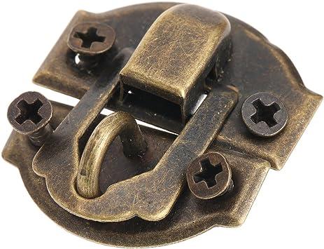 12Piezas Latón antiguo de la joyería caja de madera decorativa del cerrojo del cerrojo de cierre de la cerradura con los tornillos: Amazon.es: Bricolaje y herramientas