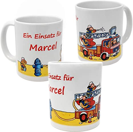 Feuerwehr Kinder Tasse Personalisiert Mit Name Lutz Mauder Trinkbecher Becher Amazon De Küche Haushalt