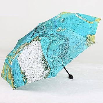 creative world map umbrella creative personality british wind uv protection umbrella folding umbrella tripled parasol