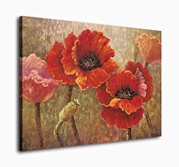 Amazon yearainn canvas wall art red flower painting framed wall amazon yearainn canvas wall art red flower painting framed wall art decor contemporary artwork red poppy blossom painting 30 x 40 abstract canvas mightylinksfo