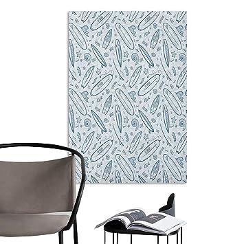 Jaydevn - Lienzo Decorativo para Pared, diseño de Tabla de Surf, Color Blanco y Negro: Amazon.es: Hogar