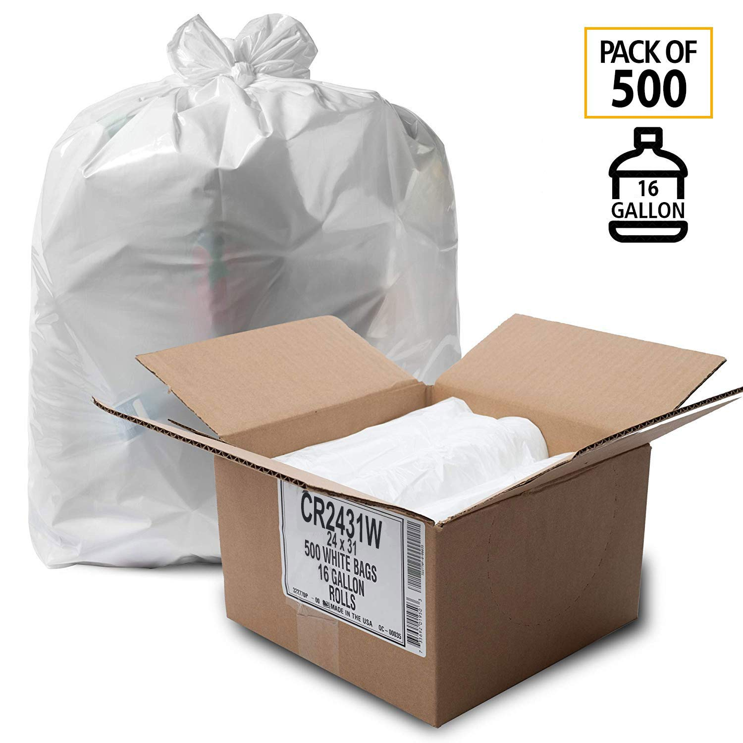 equiv - Source Reduction Series Value High Density 16 Micron Gauge Office - Intended for Home Paper Bathroom 2 Sets Aluf Plastics 33 Gallon Trash Bags - Commercial 250 Pack