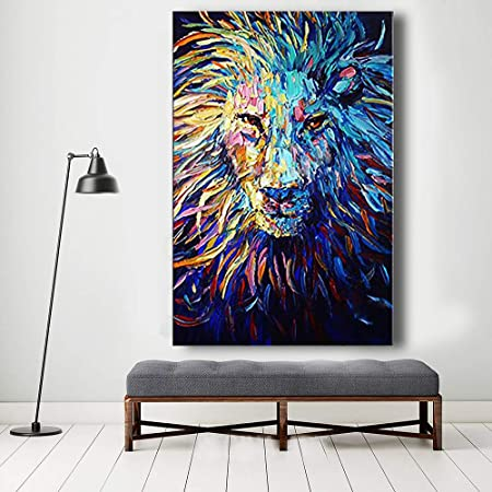 Orlco Art Hand-painted Navy Dark Blue Lion Oil Painting Abstract Wall Art Animal Paintings On Canvas For Living Room Office Palette Knife Heavy Textured 24x36inch With The Stretched