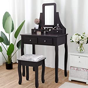 JAXPETY 2-in-1 Vanity Table Set with Square Mirror and Cushioned Stool, 4-Drawer Makeup Vanity Dressing Table, Dark Brown