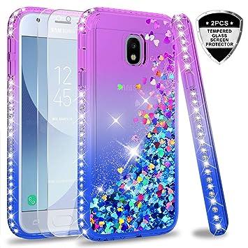 LeYi Compatible with Funda Samsung Galaxy J3 2017 Silicona Purpurina Carcasa con [2-Unidades Cristal Vidrio Templado],Transparente Cristal Bumper ...