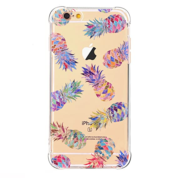newest 39b82 8c43e LUOLNH iPhone 8 Case,iPhone 7 Case,Slim Shockproof Clear Floral Pattern  Soft Flexible TPU Back Cover [4.7 inch] -7 Color Pineapple
