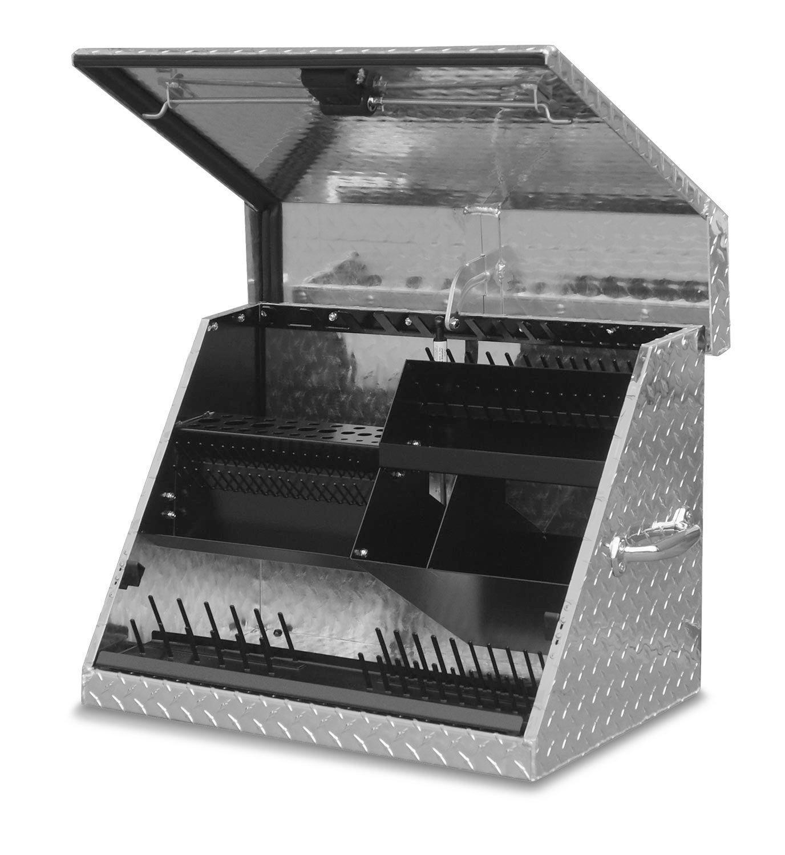 Montezuma Portable Tool Box - 26'' x 17'' Truck Bed Storage Chest with Diamond Plate Aluminum Construction & Locking Lid - SE250AL