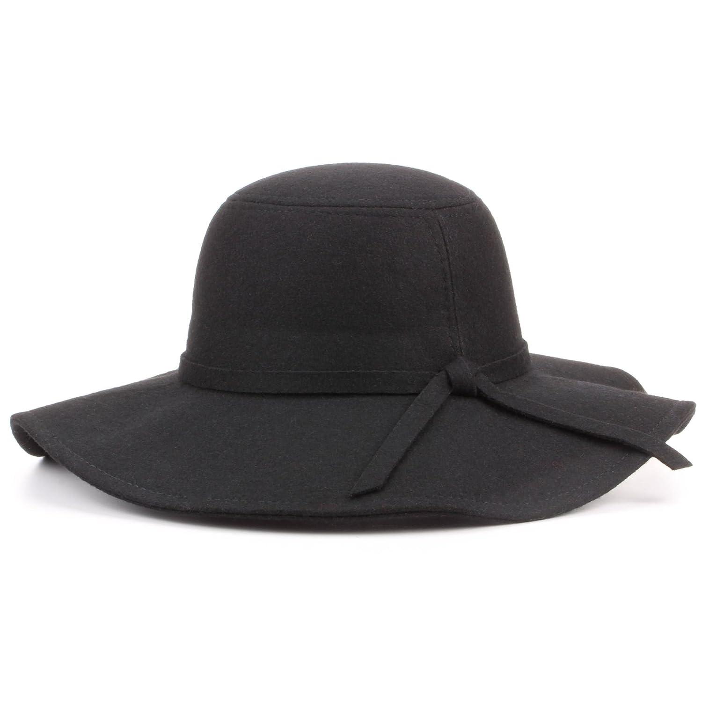 35ba1a7d55d22 Hawkins Wool Felt Wide Brim Floppy hat - Black (One Size)  Amazon.co.uk   Clothing