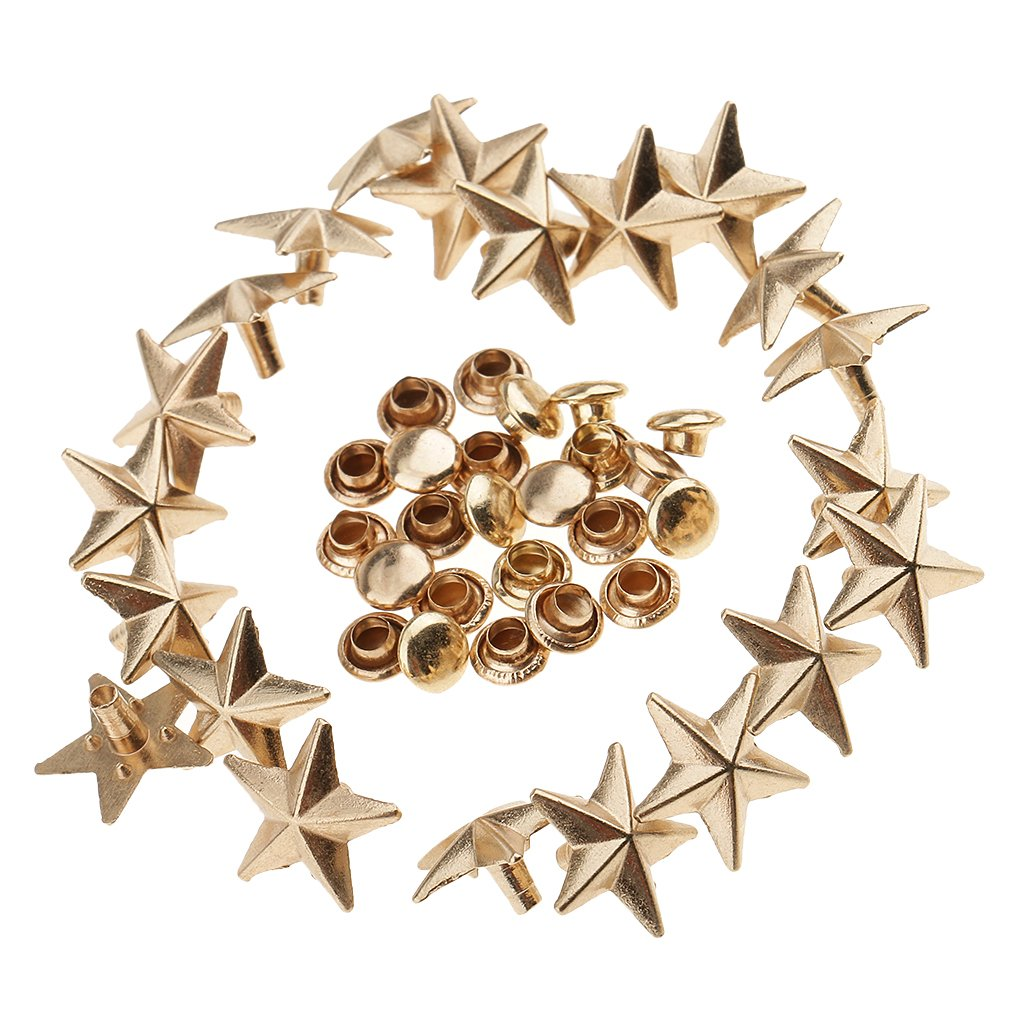 Homyl Vintage Metal Star Rivets Studs Crafting For Jewelry Making - Gold