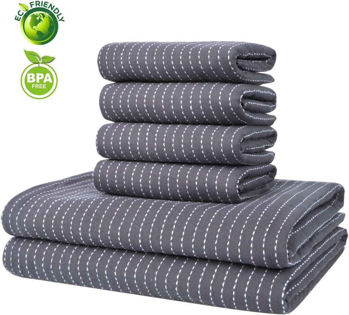 Vanca Juego de toallas de algodón de doble cara (6 piezas): Amazon ...