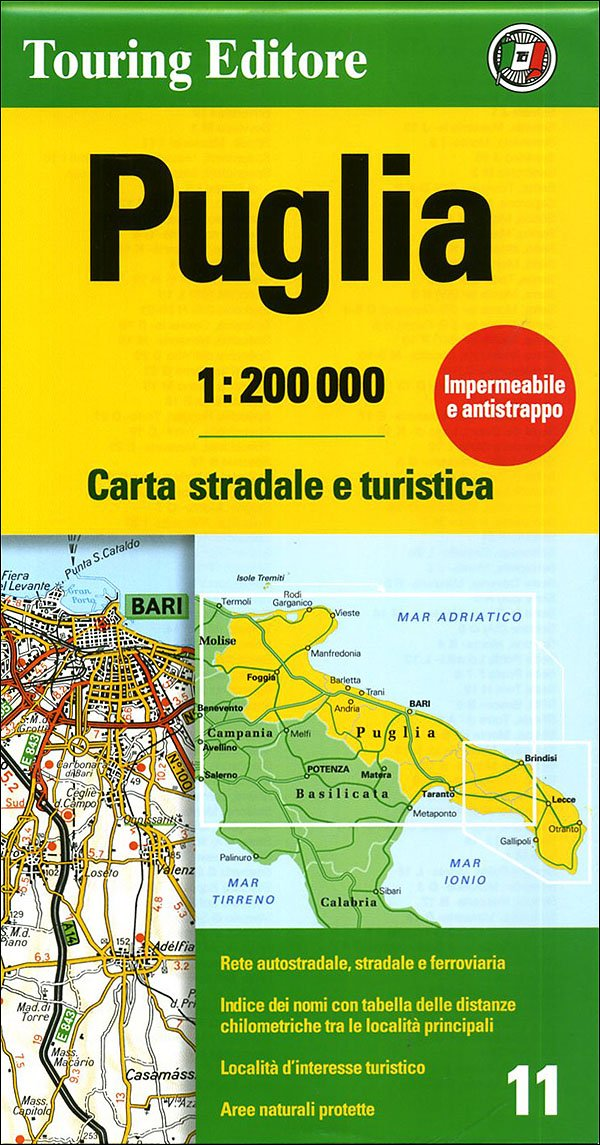 Puglia Regional Road Map Touring Club Italiano 9788836548262