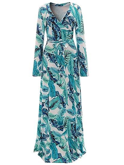 83b9ff79dec lexiart Wrap Maxi Dresses Plus Size Causal Bohemian Dressy 2017 Summer Fall  Green L 8 10