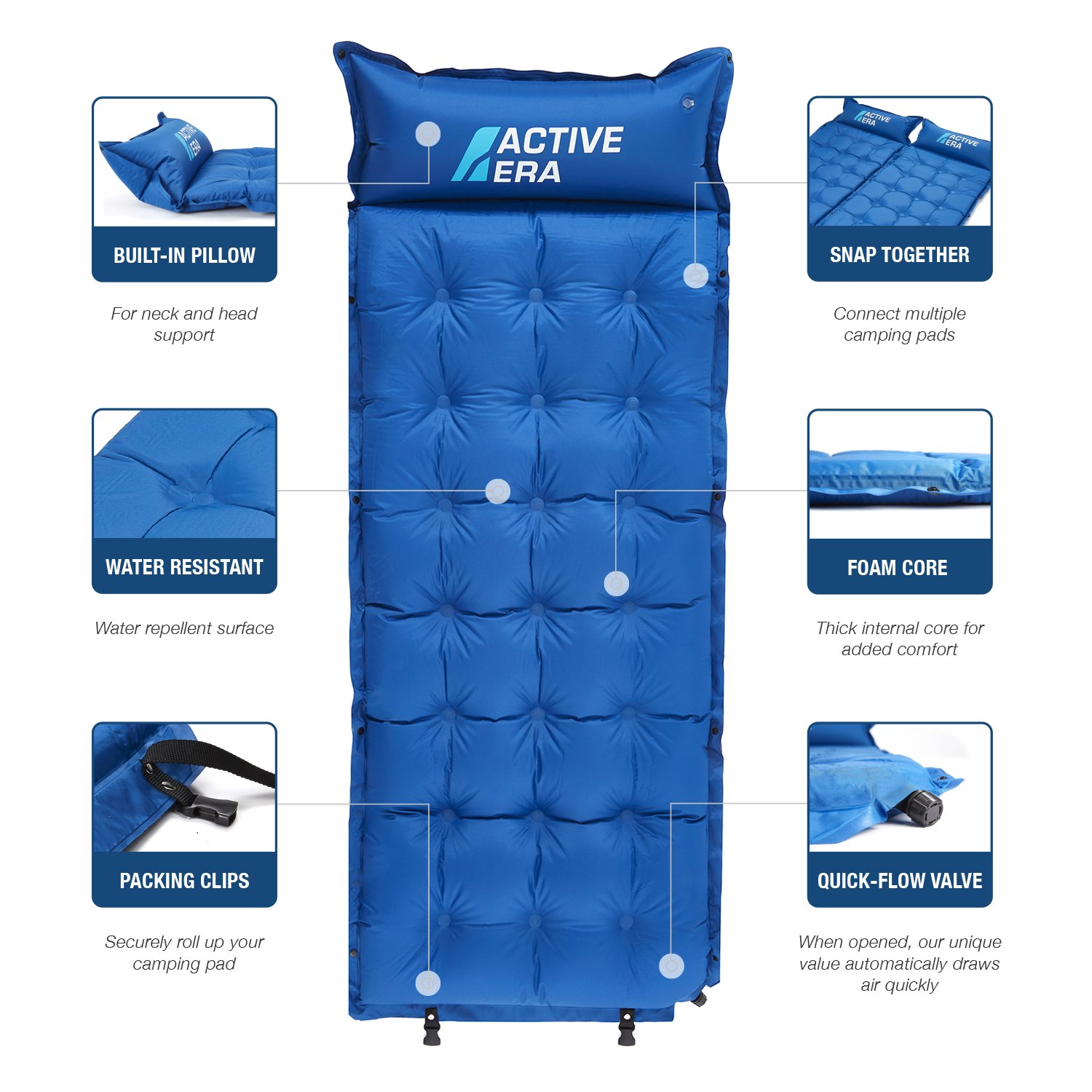 Amazon.com : Active Era Premium Self-Inflating Camping Pad | Lightweight, Abrasion Proof & Water Resistant Foam Sleeping Pad : Sports & Outdoors
