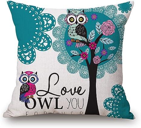 Amazon Com Jes Medis Owl Print Square Pillow Case Linen Cotton Home Decorative Cushion Throw Pillow Cover 18 X 18 Inches Kitchen Dining