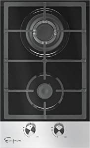 Empava 12 in Portable Gas Cooktop with 2 Italy Sabaf Burners NG LPG Convertible in Black Tempered Glass EMPV-12GS027