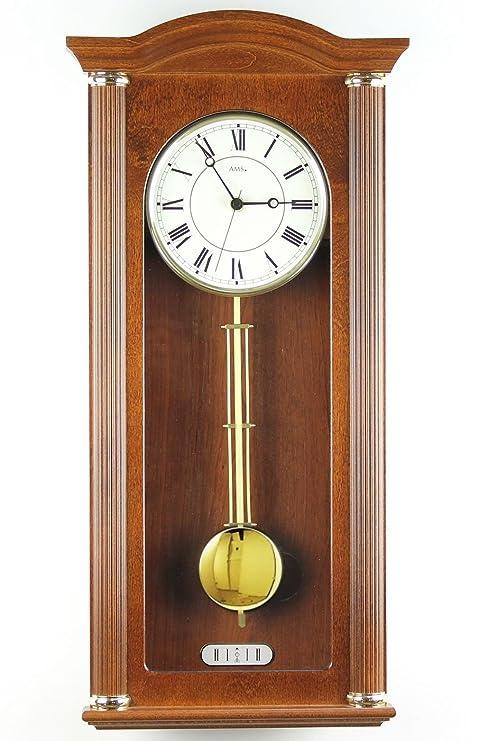AMS 5014 relojconstellation/1 reloj de pared péndulo carcasa de madera de nogal lacado de