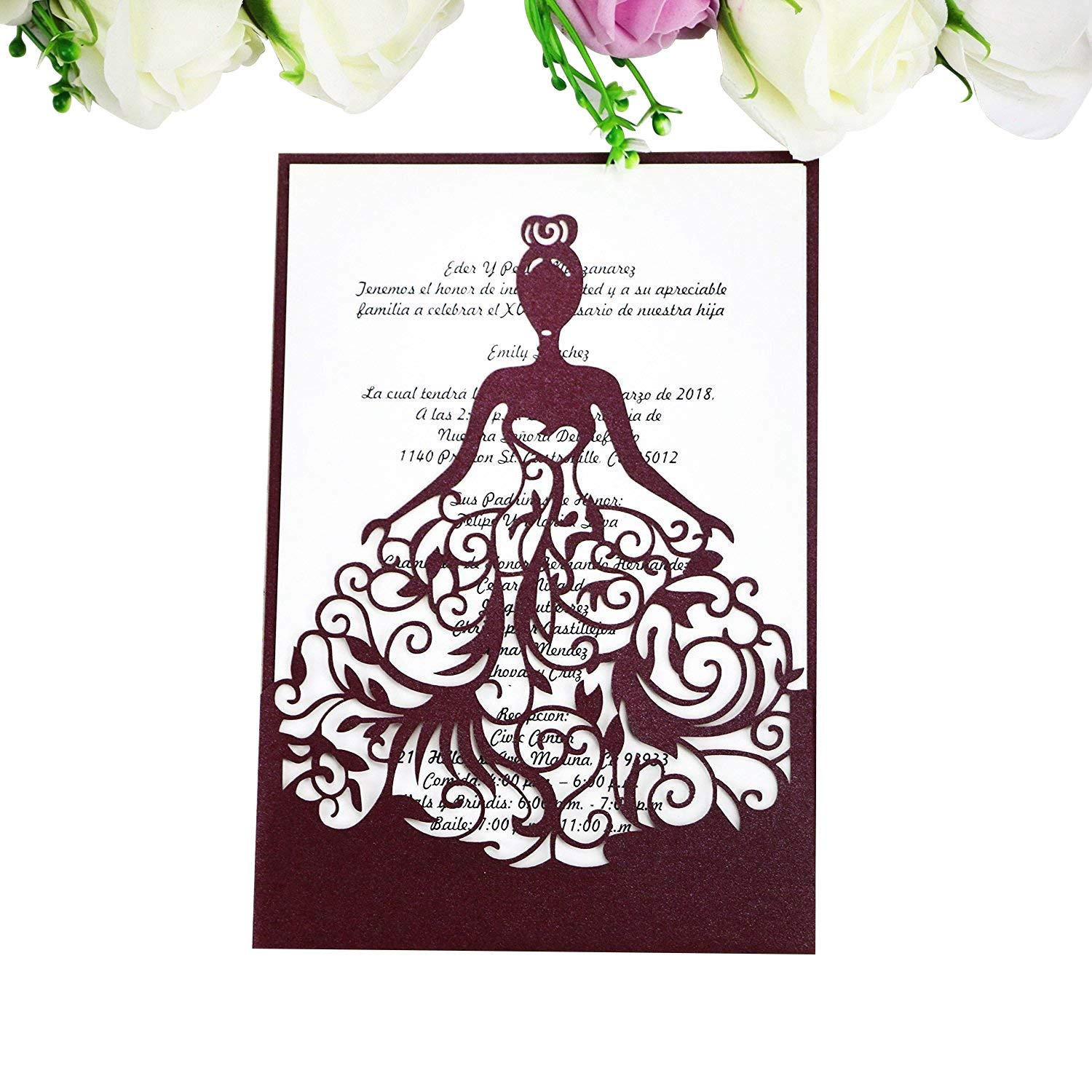 PONATIA 25PCS Laser Cut Crown Wedding Invitations Cards for Birthday Sweet 15 Quinceñera Party Invite, Wedding Bridal Engagement Invite (White)