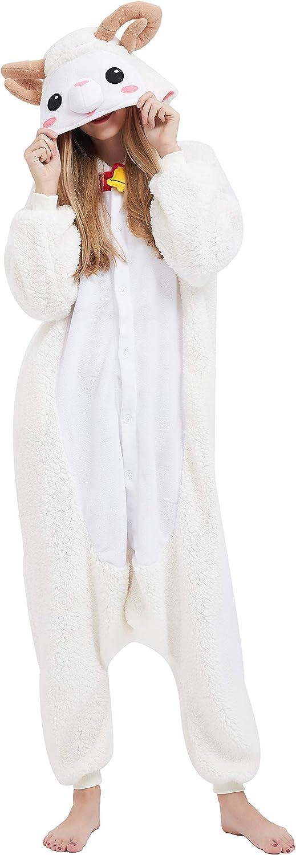 Kigurumi Pijama Animal Entero Unisex para Adultos con Capucha Cosplay Pyjamas Ovejas Ropa de Dormir Traje de Disfraz para Festival de Carnaval Halloween Navidad