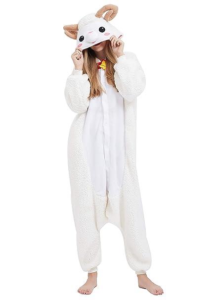 Kigurumi Pijama Animal Entero Unisex para Adultos con Capucha Cosplay Pyjamas Ovejas Ropa de Dormir Traje de Disfraz para Festival de Carnaval ...