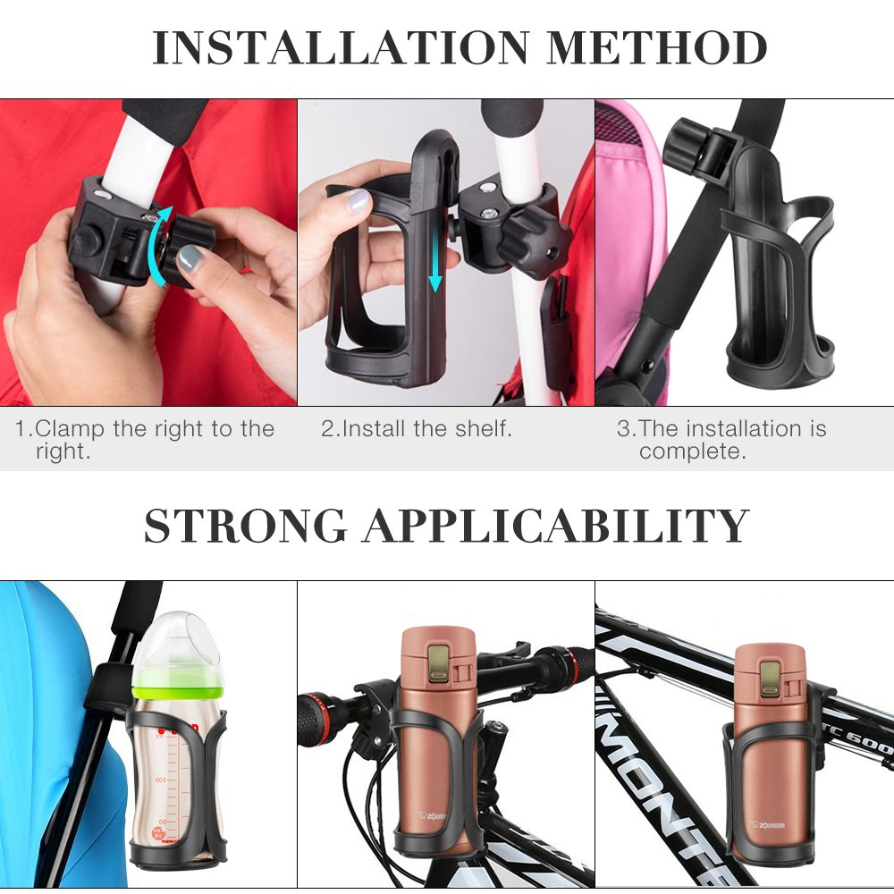 Bike Cup Holder, Komake Stroller Bottle Holders Upgrade Edition Universal 360 Degrees Rotation Antislip Cup Drink Holder for Baby Stroller, Pushchair, Bicycle, Wheelchair, Motorcycle (2 Pack) by Komake (Image #4)