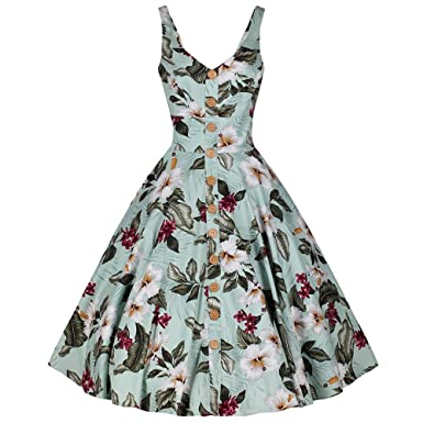 52022d6b03 Image Unavailable. Image not available for. Colour  Pretty Kitty Fashion  Mint Green Retro Vintage Floral Print Summer 50s Swing Dress