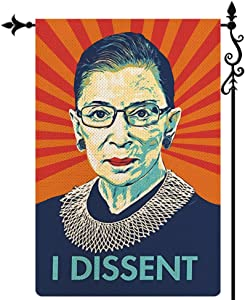 Coskaka I Dissent Garden Flag Ruth Bader Ginsburg Makes Her Mark Vertical Double Sided Pink Burlap Porch Sign Yard Lawn Outdoor Decor 12.5x18 Inch
