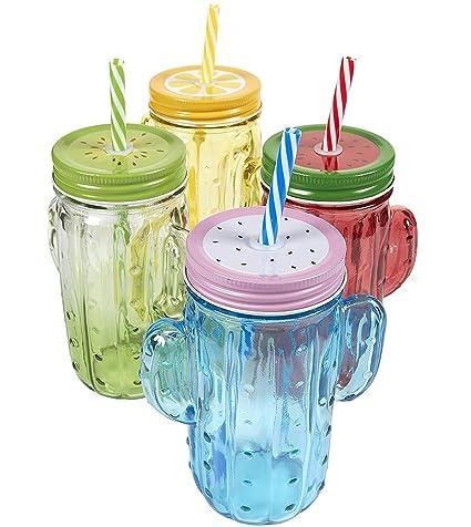 Amazon Com 4 Pack Mason Jars Colorful Mason Jar Set With