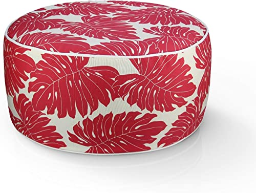 FBTS Prime Outdoor Inflatable Ottoman Red Leaves Round 21×9 Inch Patio Foot Stools and Ottomans Portable Travel Footstool Used
