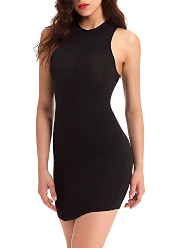FairySu Women's Halter Backless Bandage Dress/Sexy Mini Dresses (Black)