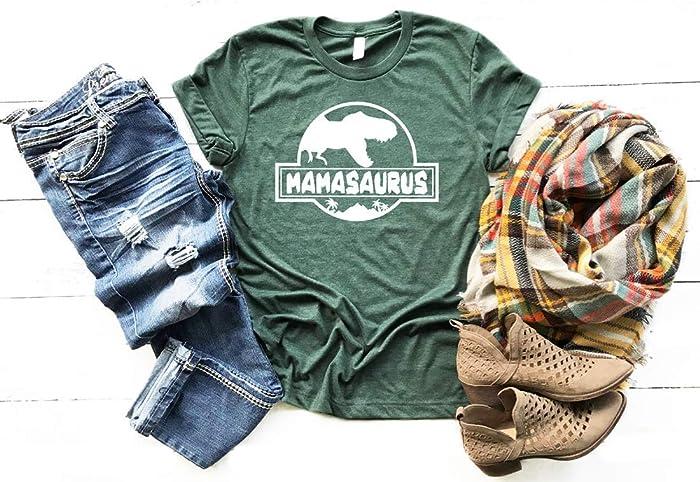 510d568e0 Amazon.com: Mamasaurus Shirt Mom Tshirt Soft and Comfy Womens Graphic Tee:  Handmade