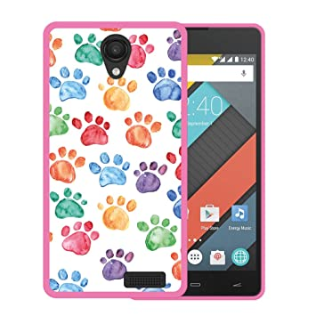 WoowCase Funda para Energy Phone MAX 4G, [Energy Phone MAX 4G ] Silicona Gel Flexible Huellas Perro, Carcasa Case TPU Silicona - Rosa