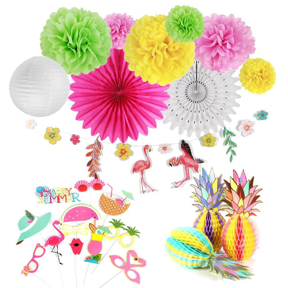 Easy Joy Decorazione Set, Ventaglio Carta e Pompom Lanterna per Festa d'Estate, Banner Fenicottero Festa a Tema Tropicale, 12 Pezzi