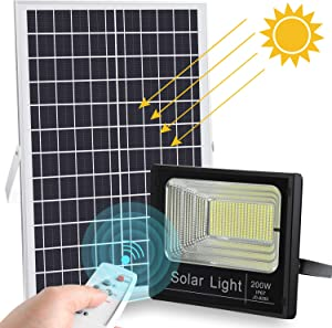 2019 Upgraded 200W LED Solar Flood Light 400LED Dusk to Dawn Solar Powered Street Light Outdoor Waterproof IP67 with Remote Control Solar Chargeable Flood for Backyard Garage Driveway Basketball Court