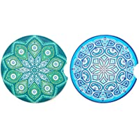 Upriver 2 Pack Car Coasters, 2.56'' Absorbent Car Coasters, Car Coaster for Cup Holders, Cute Ceramic Car Drink Holder…