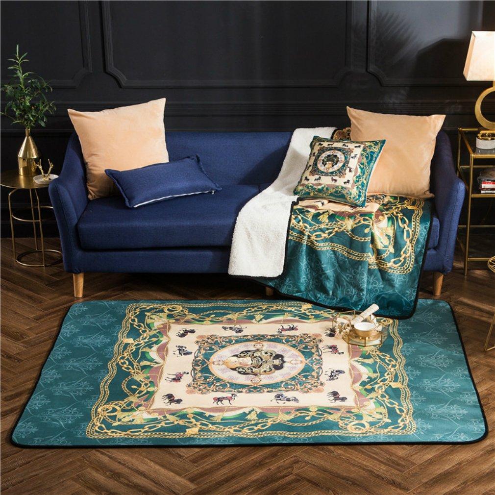 MIRUIKE Non-slip European Classic Area Rugs Digital Printing Crystal Plush Crawl Mat for Living Room Bedroom 150x200cm(5x6.5ft)