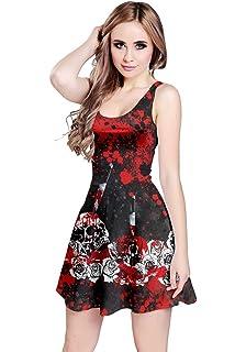 5164d5fa5c540 CowCow Womens Grunge Skulls Skeleton Bones Horror Creepy Weirdo Scarry  Gothic Dark Sleeveless Dress