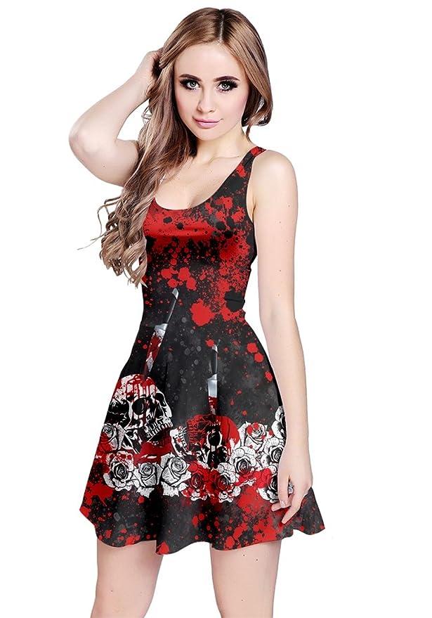 CowCow Womens Bloody Skull Sleeveless Dress, Red - 3XL