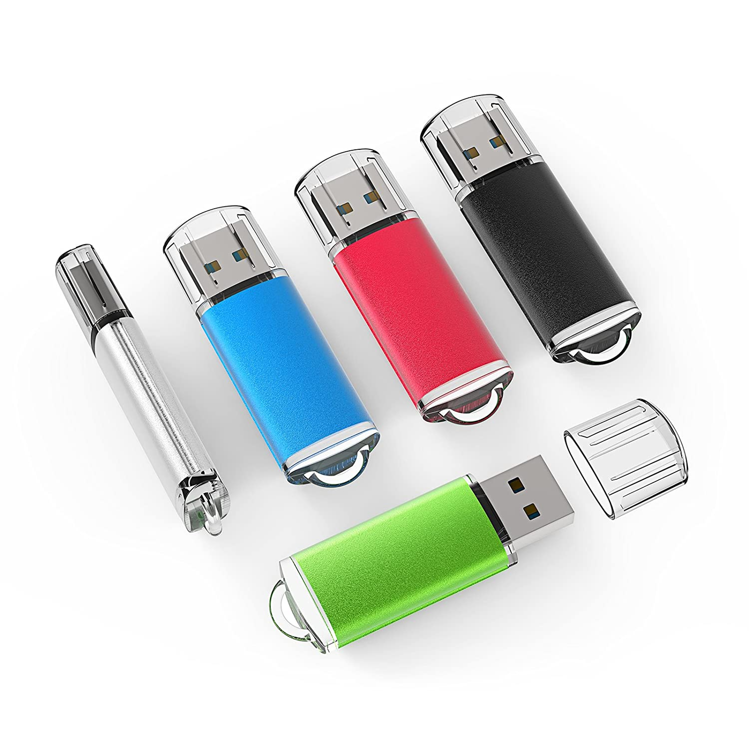 Amazon.com: TOPSELL 5 Pack 4GB USB 2.0 Flash Drive Memory Stick Thumb Drives  (5 Mixed Colors: Black Blue Green Red Silver): Computers & Accessories