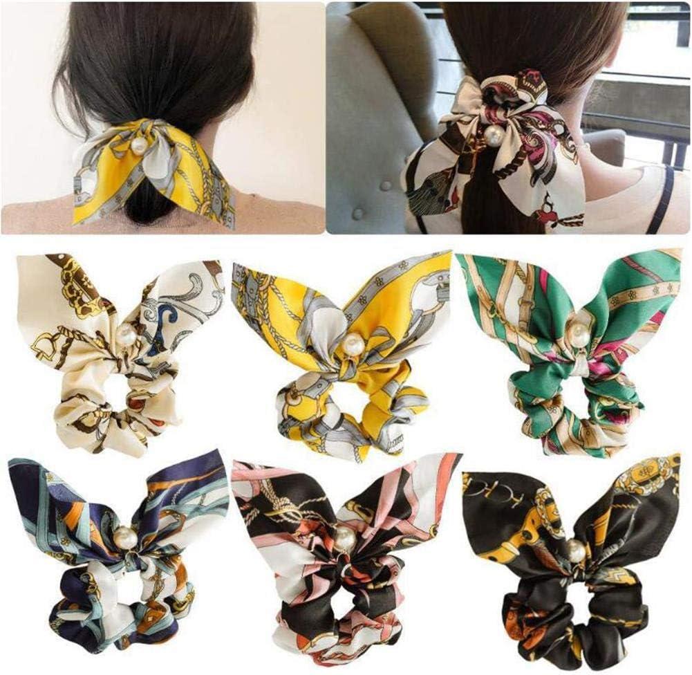 VASANA 6 coleteros para el pelo con lazos, coleteros de gasa bohemios con flores y lazos, accesorios para el cabello (color al azar)