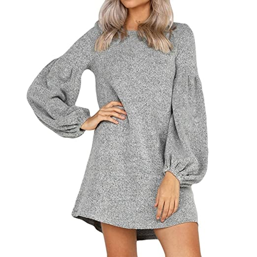 Big Promotion! Teresamoon Women Camisole Long Sleeve O-Neck Loose Pleated Mini Dress Fashion