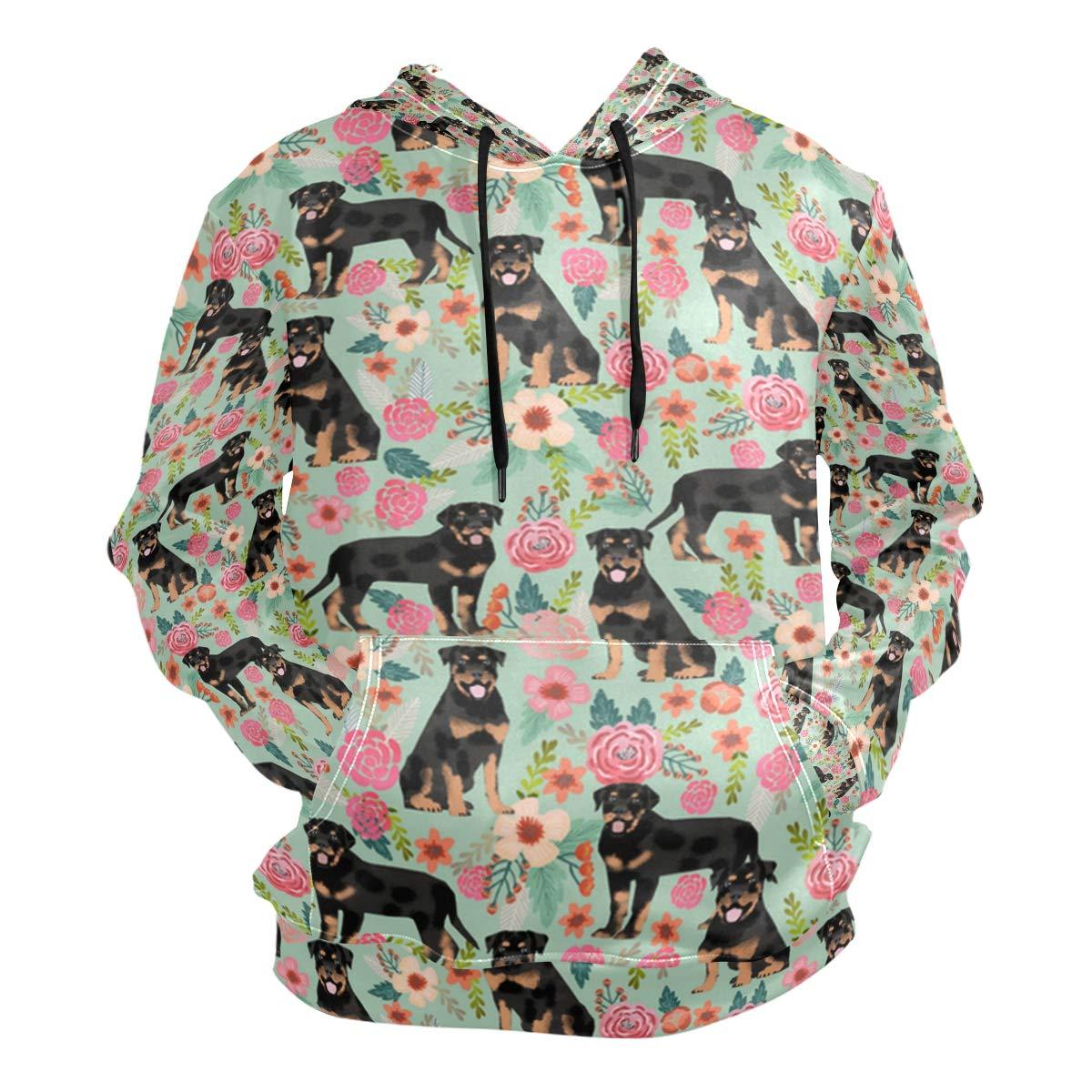 Medium Charlley Lee Men's Hooded Sweatshirt redtweiler Dog and Floral Funny Fashion Hoodie