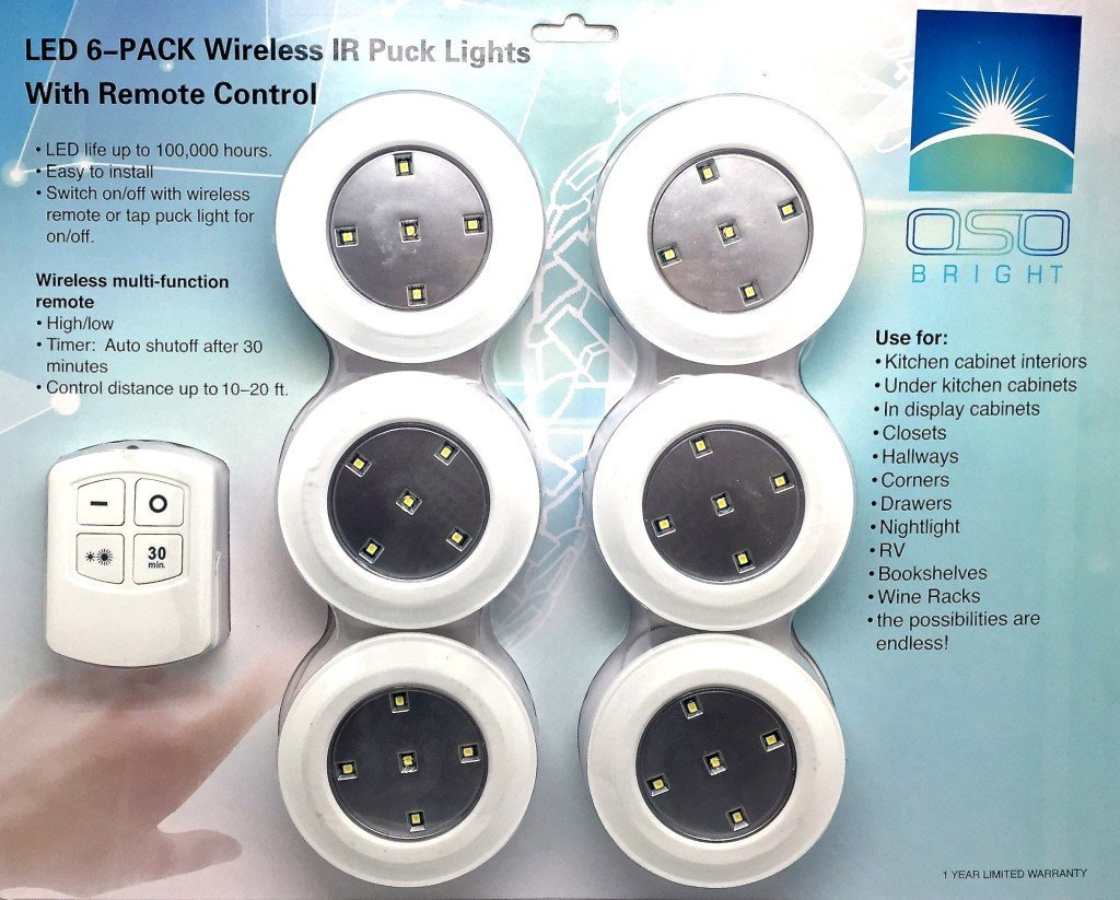 LED wireless puck lights from OSO Bright.Use with remote control or as a tap light,night light,closet light or for under counter lighting to give you bright white light anywhere Brighten your life now