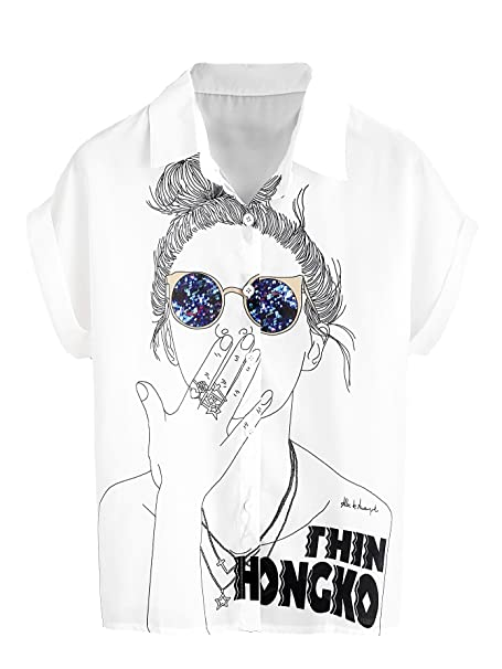 d9fe15e8b0 Image Unavailable. Image not available for. Color: SheIn Women's Print  Cuffed Short Sleeve Chiffon Shirt Blouse Top One-Size White