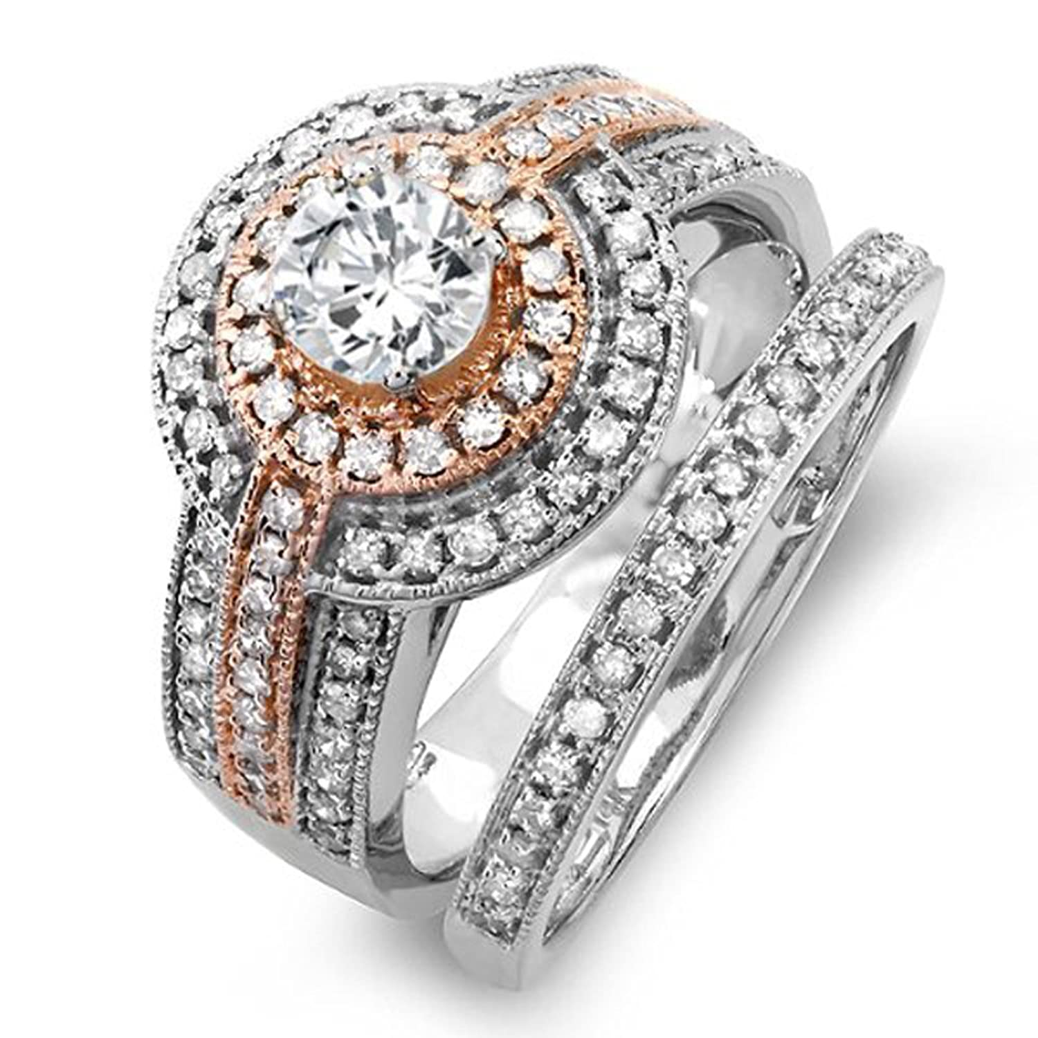 Amazon 1 15 Carat ctw 14K Two Tone Rose Gold Real Round