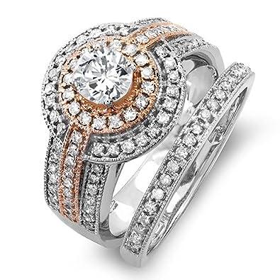 115 carat ctw 14k two tone rose gold real round diamond engagement bridal ring - Real Diamond Wedding Rings