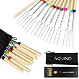 Acmind Marshmallow Roasting Sticks 32 Inch,10 Bamboo Skewers,Kids Camping Accessories for Campfire Fire Pit Cooking,Hot Dog E