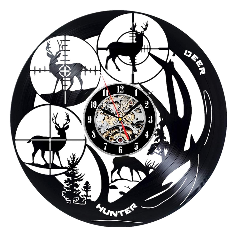 Father Deer Hunter Unique Art Design Vinyl Record Wall Clock Hunter Deer Home Room Living Room Wall Decor Gift Ideas Men Boys