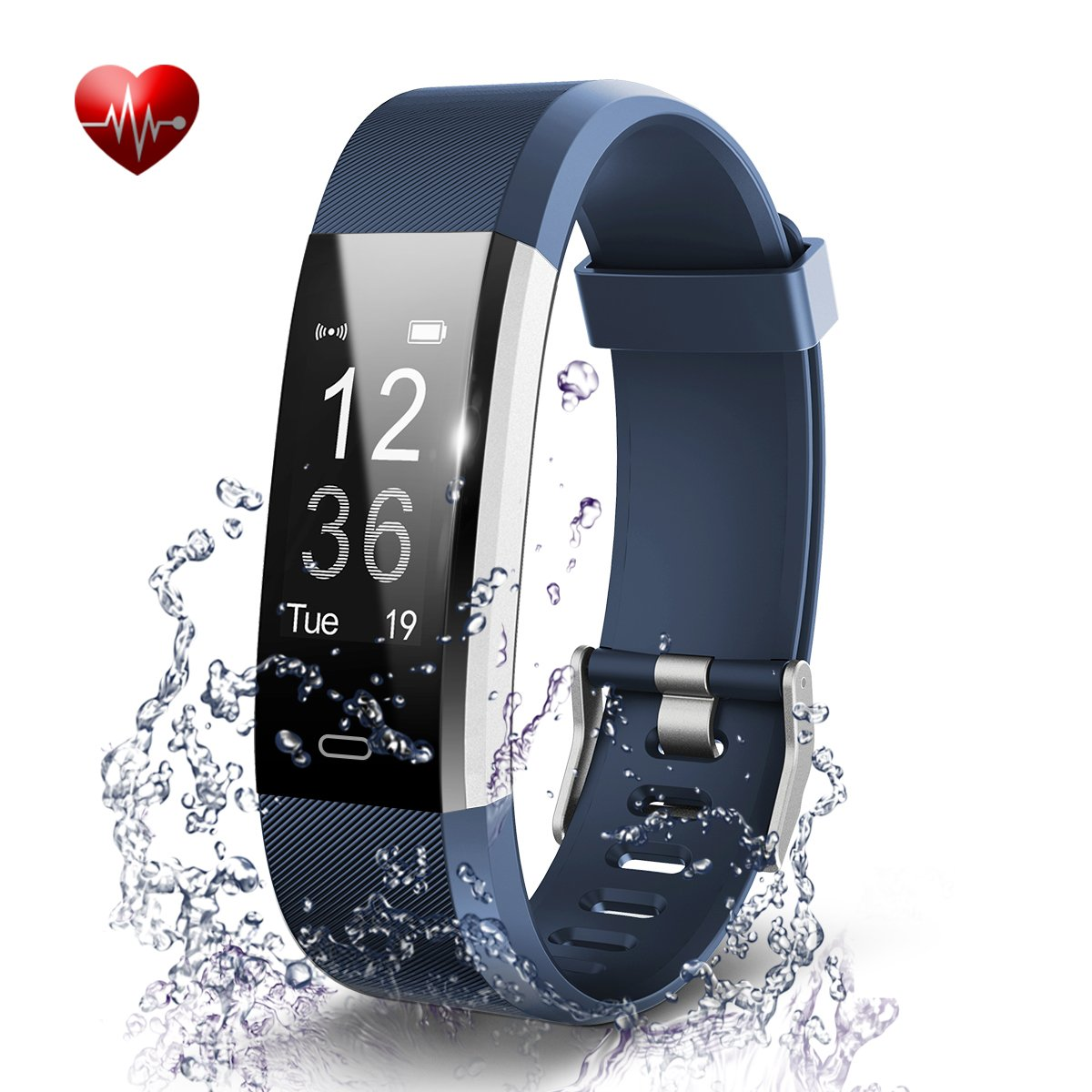 BADIQI Fitness Tracker- Waterproof Activity Tracker Heart Rate Monitors Sleep Tracking Wireless Bluetooth Activity Tracker Smart Bracelet Pedometer Fitness Sports Wristbands (blue)